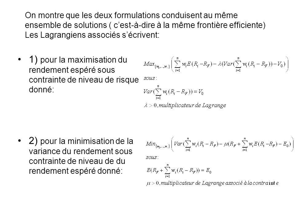 On montre que les deux formulations conduisent au même ensemble de solutions ( cest-à-dire à la même frontière efficiente) Les Lagrangiens associés sé