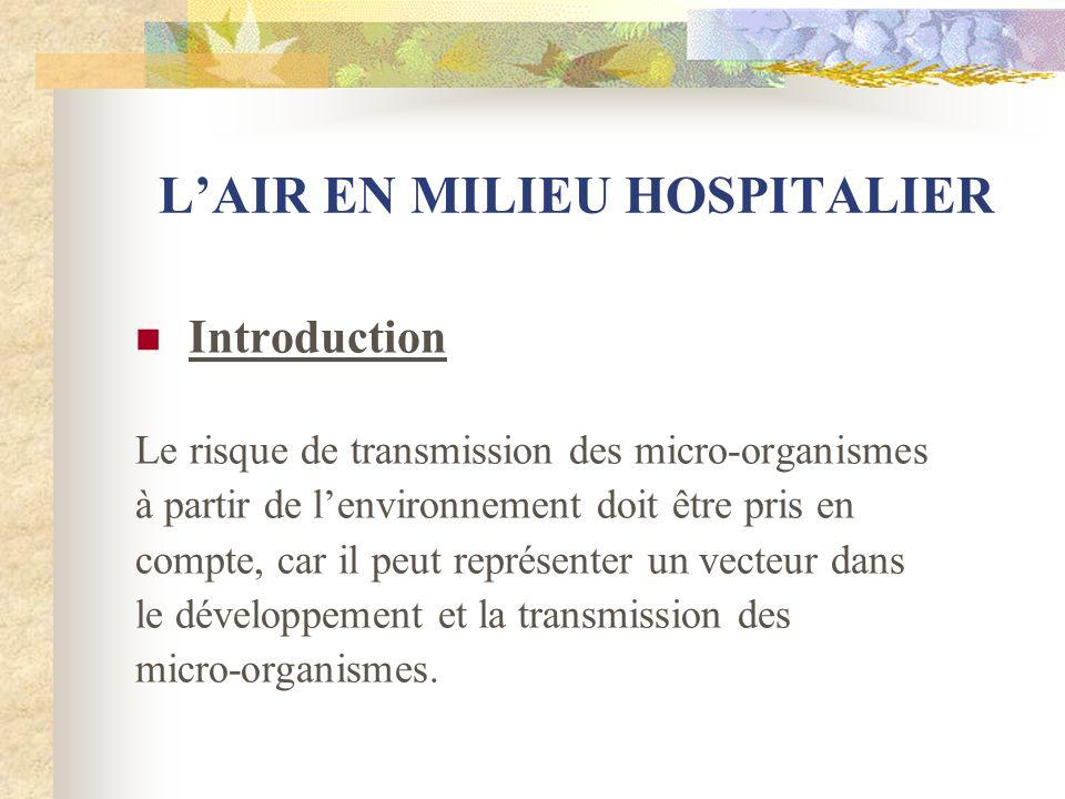 LAIR EN MILIEU HOSPITALIER Introduction Le risque de transmission des micro-organismes à partir de lenvironnement doit être pris en compte, car il peu