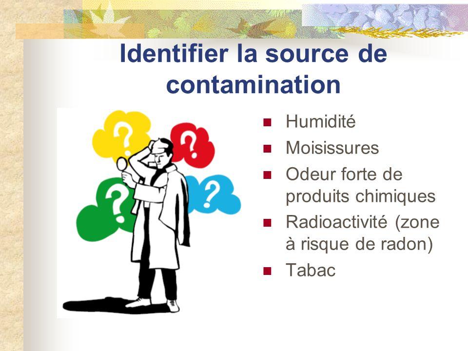Identifier la source de contamination Humidité Moisissures Odeur forte de produits chimiques Radioactivité (zone à risque de radon) Tabac