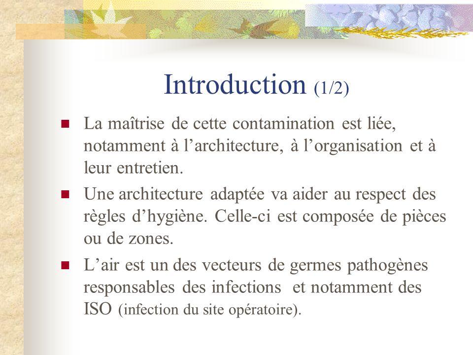 Introduction (1/2) La maîtrise de cette contamination est liée, notamment à larchitecture, à lorganisation et à leur entretien. Une architecture adapt