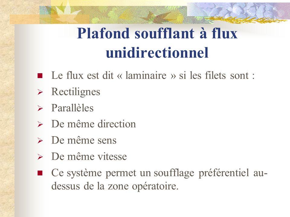 Plafond soufflant à flux unidirectionnel Le flux est dit « laminaire » si les filets sont : Rectilignes Parallèles De même direction De même sens De m