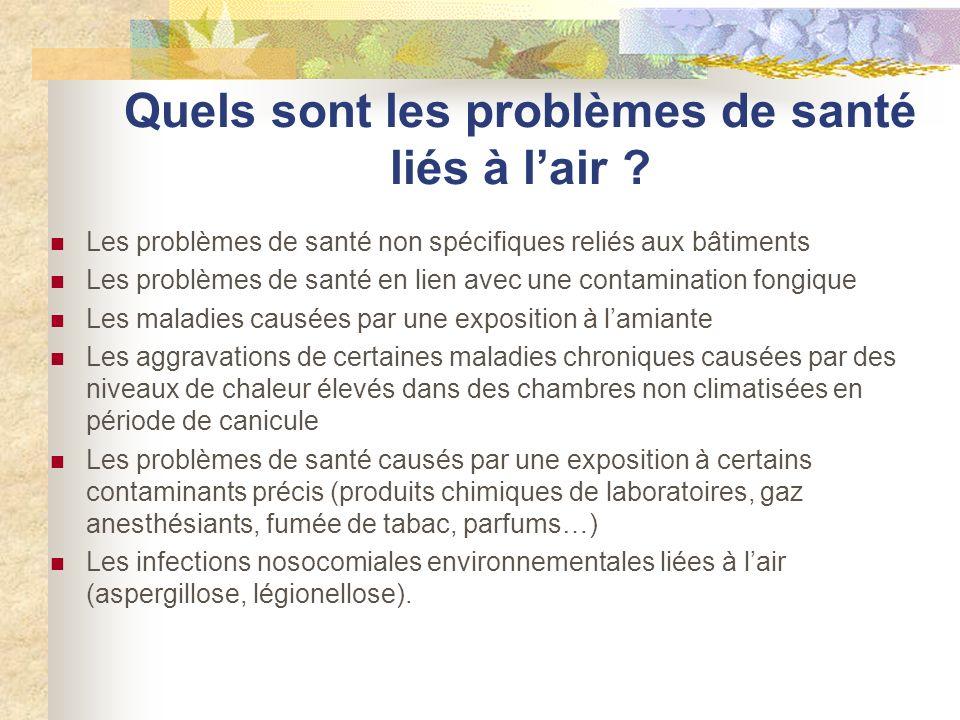 Quels sont les problèmes de santé liés à lair ? Les problèmes de santé non spécifiques reliés aux bâtiments Les problèmes de santé en lien avec une co