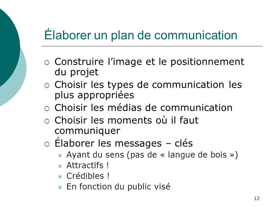 12 Élaborer un plan de communication Construire limage et le positionnement du projet Choisir les types de communication les plus appropriées Choisir