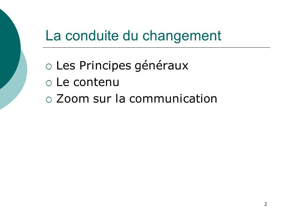 2 La conduite du changement Les Principes généraux Le contenu Zoom sur la communication