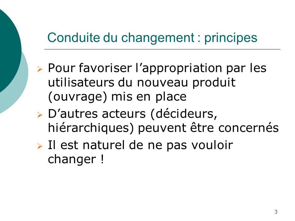 3 Conduite du changement : principes Pour favoriser lappropriation par les utilisateurs du nouveau produit (ouvrage) mis en place Dautres acteurs (déc