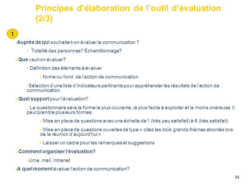 33 Principes délaboration de loutil dévaluation (2/3) Auprès de qui souhaite-t-on évaluer la communication ? Totalité des personnes? Échantillonnage?