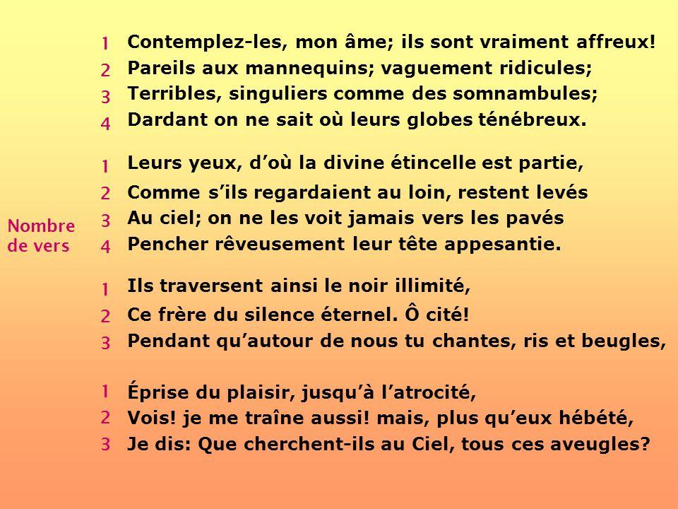 Analyse du poème Les Aveugles de Charles Baudelaire Nombre de strophes 1 2 3 4 Contemplez-les, mon âme; ils sont vraiment affreux! Pareils aux mannequ