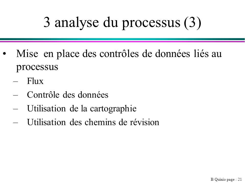 B Quinio page : 21 3 analyse du processus (3) Mise en place des contrôles de données liés au processus –Flux –Contrôle des données –Utilisation de la cartographie –Utilisation des chemins de révision