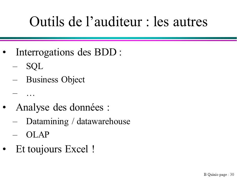 B Quinio page : 30 Outils de lauditeur : les autres Interrogations des BDD : –SQL –Business Object –… Analyse des données : –Datamining / datawarehouse –OLAP Et toujours Excel !