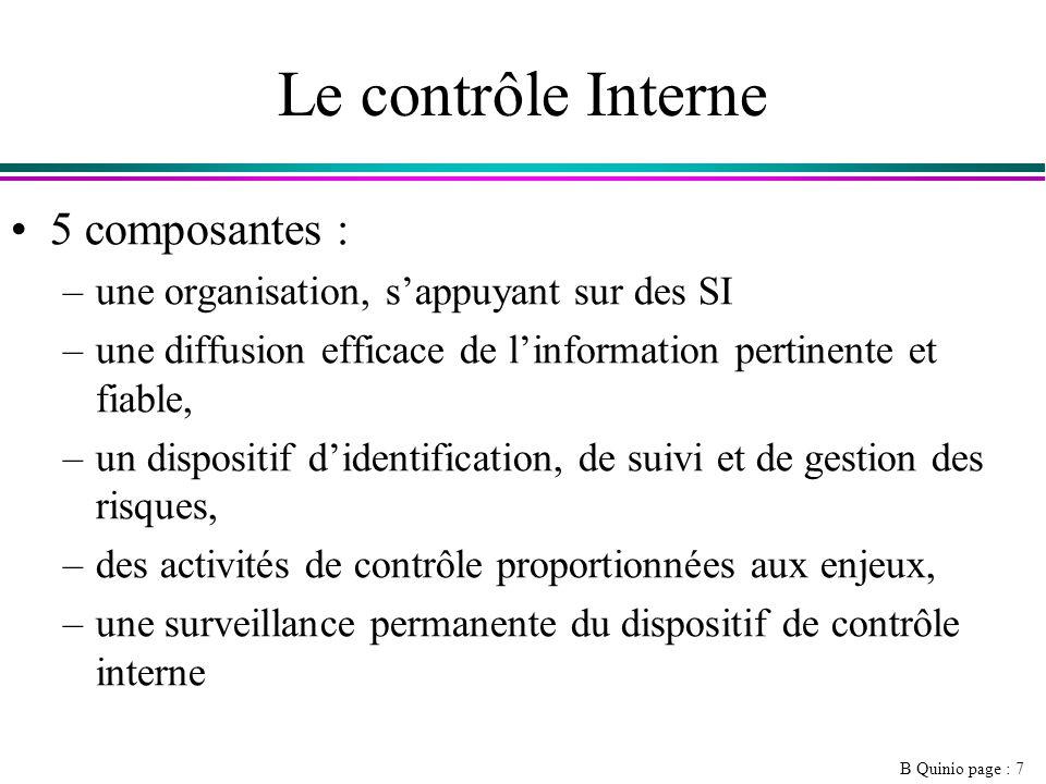 B Quinio page : 7 Le contrôle Interne 5 composantes : –une organisation, sappuyant sur des SI –une diffusion efficace de linformation pertinente et fiable, –un dispositif didentification, de suivi et de gestion des risques, –des activités de contrôle proportionnées aux enjeux, –une surveillance permanente du dispositif de contrôle interne