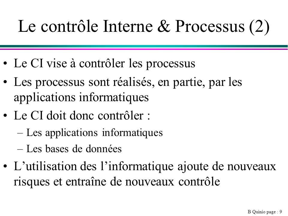 B Quinio page : 9 Le contrôle Interne & Processus (2) Le CI vise à contrôler les processus Les processus sont réalisés, en partie, par les applications informatiques Le CI doit donc contrôler : –Les applications informatiques –Les bases de données Lutilisation des linformatique ajoute de nouveaux risques et entraîne de nouveaux contrôle