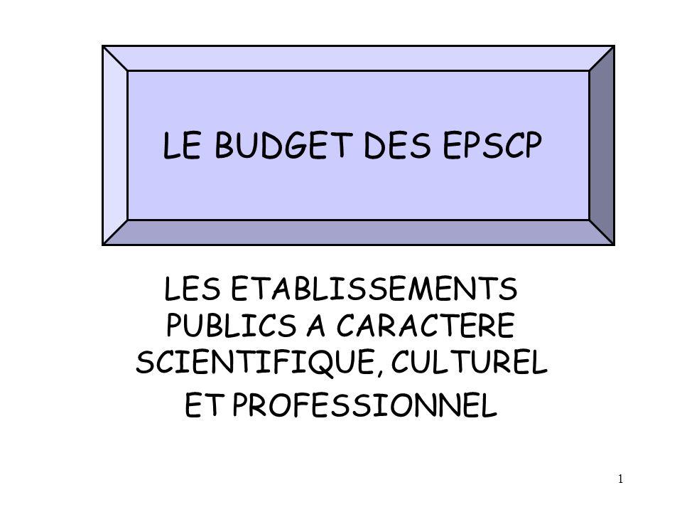 1 LES ETABLISSEMENTS PUBLICS A CARACTERE SCIENTIFIQUE, CULTUREL ET PROFESSIONNEL LE BUDGET DES EPSCP