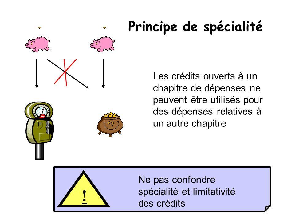 17 Principe de spécialité Les crédits ouverts à un chapitre de dépenses ne peuvent être utilisés pour des dépenses relatives à un autre chapitre ! Ne