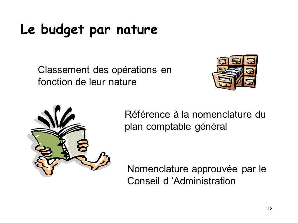 18 Le budget par nature Classement des opérations en fonction de leur nature Référence à la nomenclature du plan comptable général Nomenclature approu