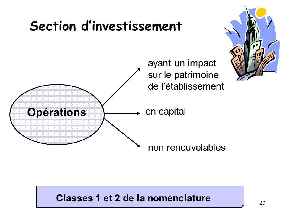 20 Section dinvestissement Opérations ayant un impact sur le patrimoine de létablissement en capital non renouvelables Classes 1 et 2 de la nomenclatu