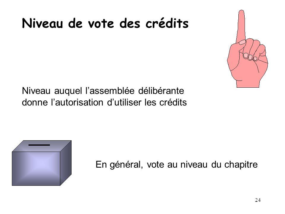 24 Niveau de vote des crédits Niveau auquel lassemblée délibérante donne lautorisation dutiliser les crédits En général, vote au niveau du chapitre