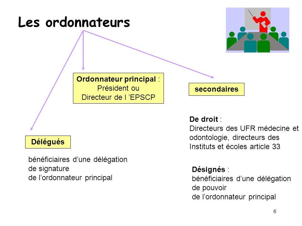 6 Les ordonnateurs Ordonnateur principal : Président ou Directeur de l EPSCP secondaires De droit : Directeurs des UFR médecine et odontologie, direct