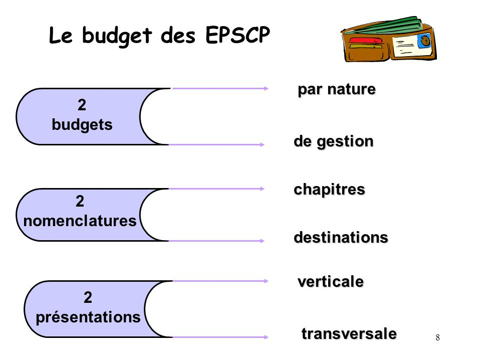 8 Le budget des EPSCP 2 budgets 2 nomenclatures 2 présentations par nature de gestion chapitres destinations verticale transversale