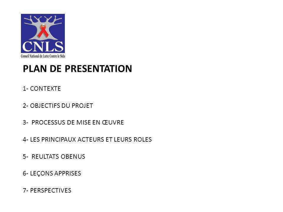 PLAN DE PRESENTATION 1- CONTEXTE 2- OBJECTIFS DU PROJET 3- PROCESSUS DE MISE EN ŒUVRE 4- LES PRINCIPAUX ACTEURS ET LEURS ROLES 5- REULTATS OBENUS 6- LEҪONS APPRISES 7- PERSPECTIVES