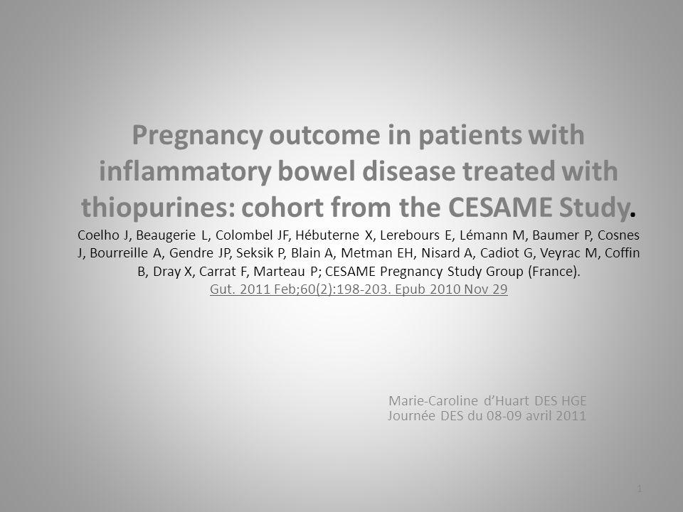 Introduction Balance bénéfice/risque entre la nécessité de maintenir une rémission de la MICI et les effets indésirables des traitements notamment sur le bon déroulement de la grossesse et le développement du fœtus (1-2).