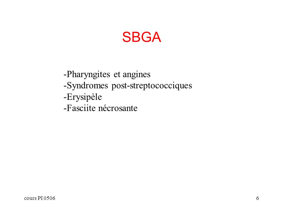 cours PI 05066 SBGA -Pharyngites et angines -Syndromes post-streptococciques -Erysipèle -Fasciite nécrosante