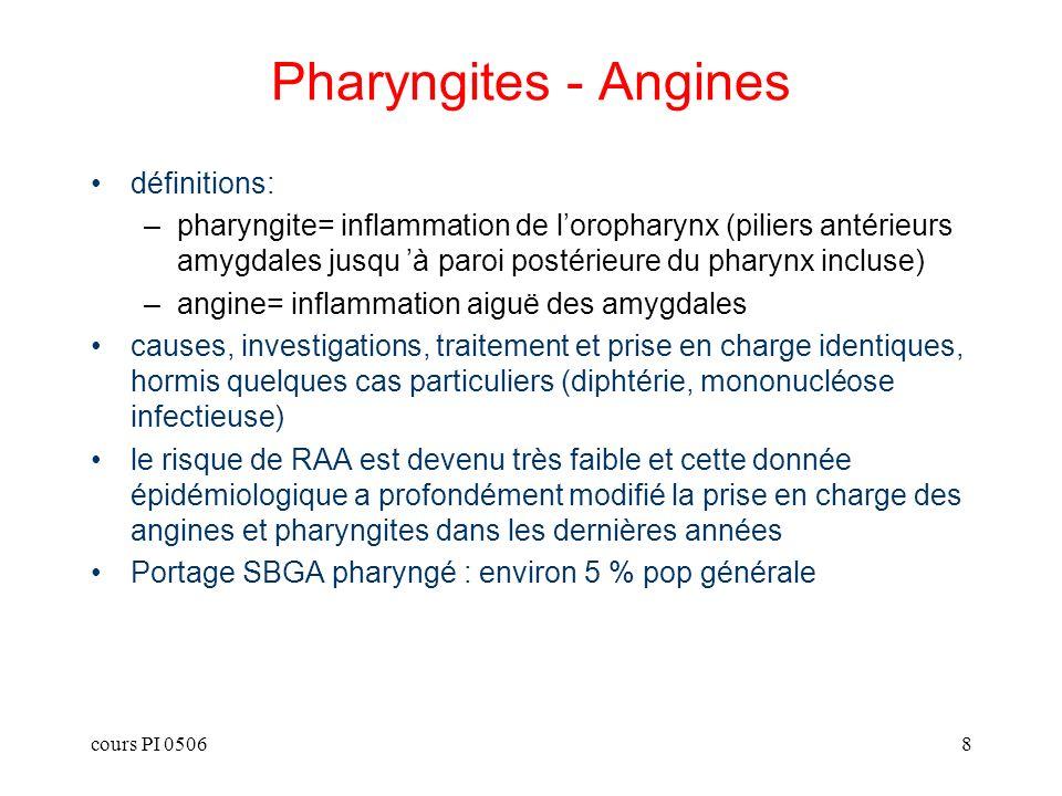 cours PI 05069 Formes cliniques Erythémateuse: –causes: toutes Erythémato-pultacée: –causes: toutes; plus souvent streptococcique Pseudo-membraneuse: –causes: MNI, diphtérie Ulcéreuses et ulcéro-nécrotiques: –causes: association fuso-spirillaire, chancre syphilitique, hémopathie maligne Vésiculeuse: –causes: virales (primo-infection HSV, Coxsackie A=herpangine)