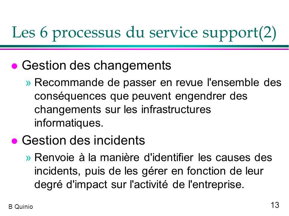 13 B Quinio Les 6 processus du service support(2) l Gestion des changements »Recommande de passer en revue l'ensemble des conséquences que peuvent eng