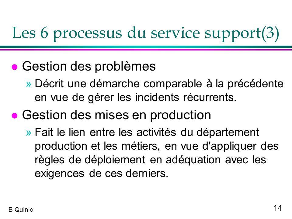 14 B Quinio Les 6 processus du service support(3) l Gestion des problèmes »Décrit une démarche comparable à la précédente en vue de gérer les incident
