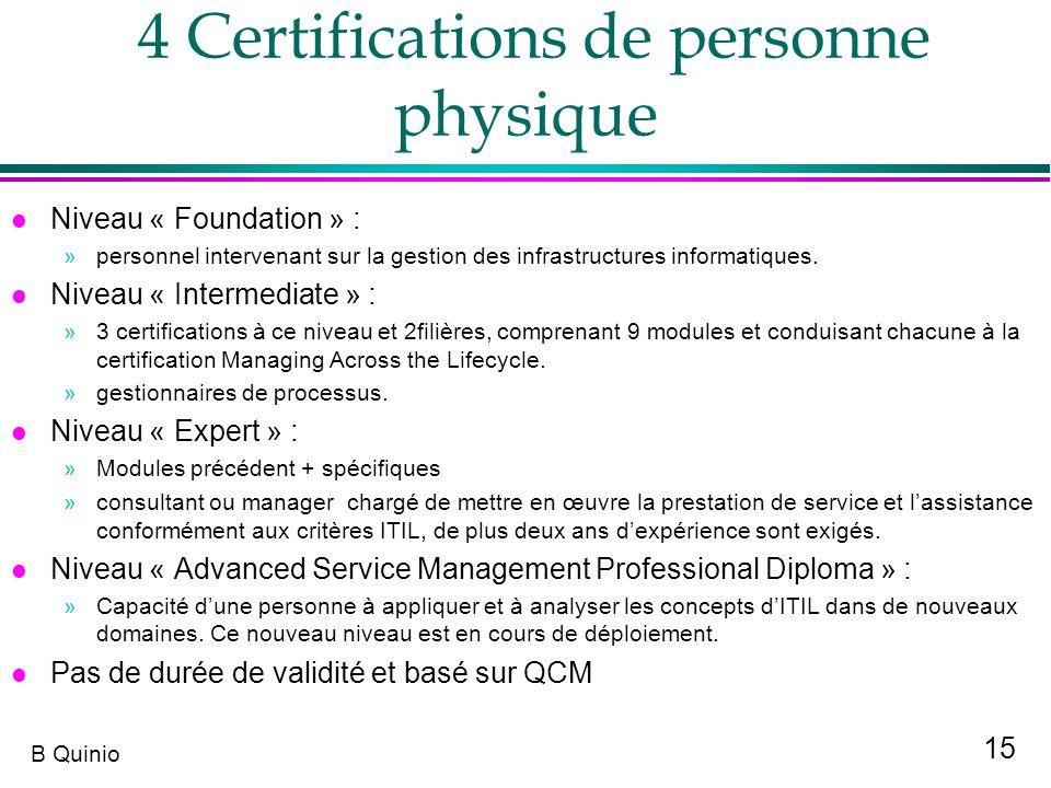 15 B Quinio 4 Certifications de personne physique l Niveau « Foundation » : »personnel intervenant sur la gestion des infrastructures informatiques. l