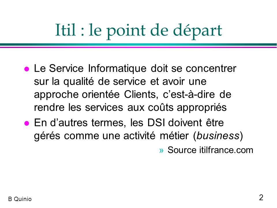 2 B Quinio Itil : le point de départ l Le Service Informatique doit se concentrer sur la qualité de service et avoir une approche orientée Clients, ce