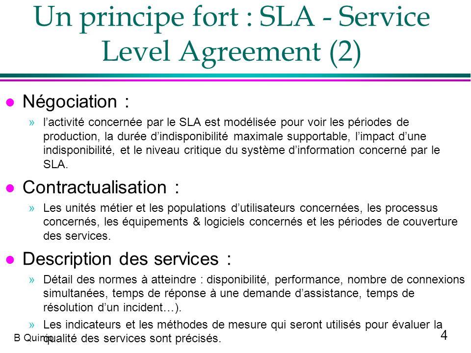 4 B Quinio Un principe fort : SLA - Service Level Agreement (2) l Négociation : »lactivité concernée par le SLA est modélisée pour voir les périodes d