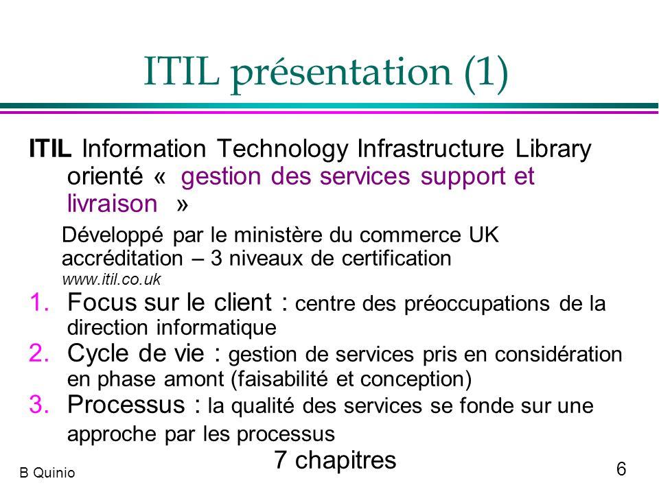 6 B Quinio ITIL présentation (1) ITIL Information Technology Infrastructure Library orienté « gestion des services support et livraison » Développé pa