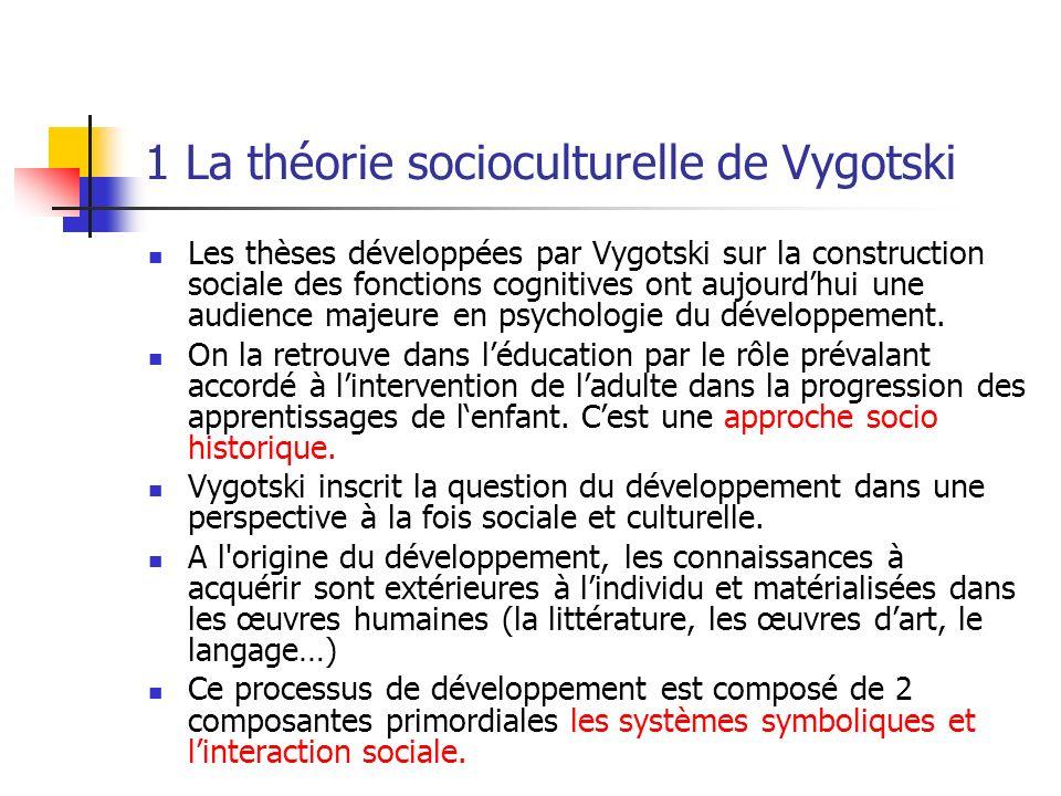 1 La théorie socioculturelle de Vygotski Les thèses développées par Vygotski sur la construction sociale des fonctions cognitives ont aujourdhui une a