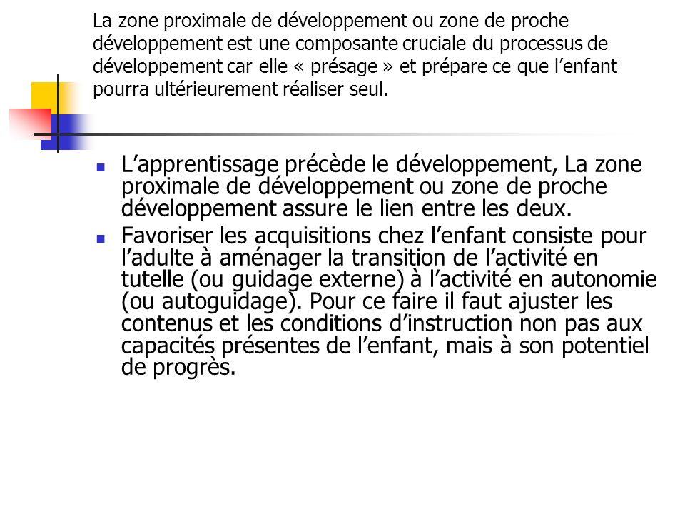 La zone proximale de développement ou zone de proche développement est une composante cruciale du processus de développement car elle « présage » et p