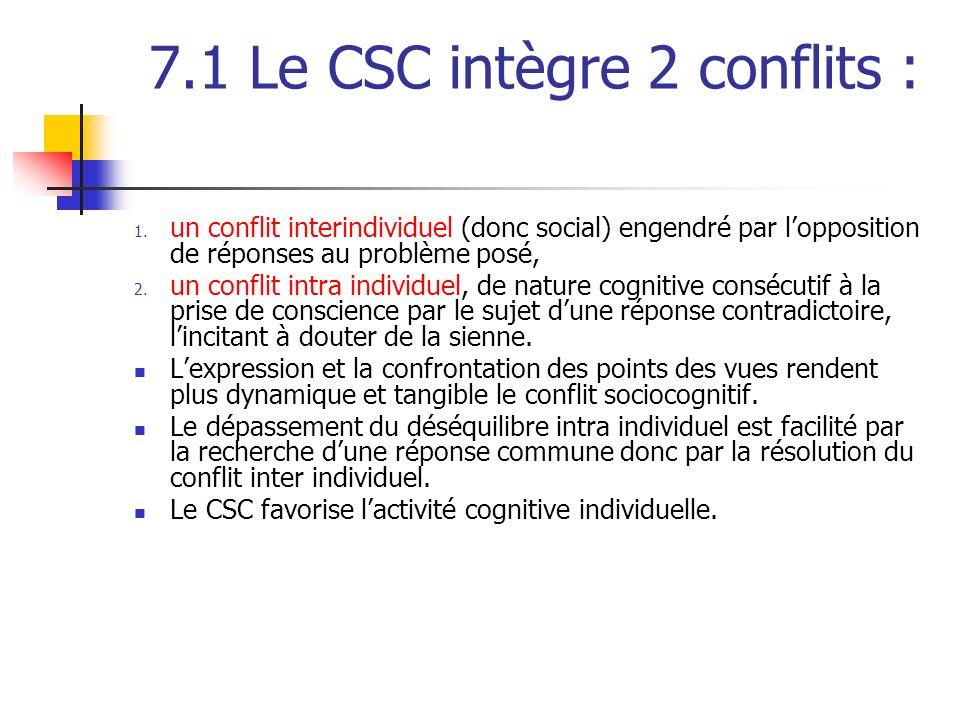 7.1 Le CSC intègre 2 conflits : 1. un conflit interindividuel (donc social) engendré par lopposition de réponses au problème posé, 2. un conflit intra