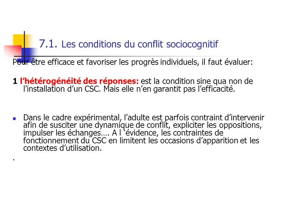 7.1. Les conditions du conflit sociocognitif Pour être efficace et favoriser les progrès individuels, il faut évaluer: 1 lhétérogénéité des réponses: