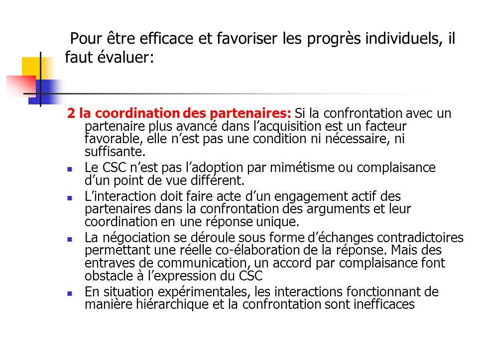 Pour être efficace et favoriser les progrès individuels, il faut évaluer: 2 la coordination des partenaires: Si la confrontation avec un partenaire pl