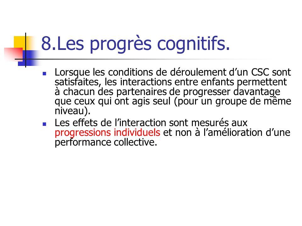 8.Les progrès cognitifs. Lorsque les conditions de déroulement dun CSC sont satisfaites, les interactions entre enfants permettent à chacun des parten