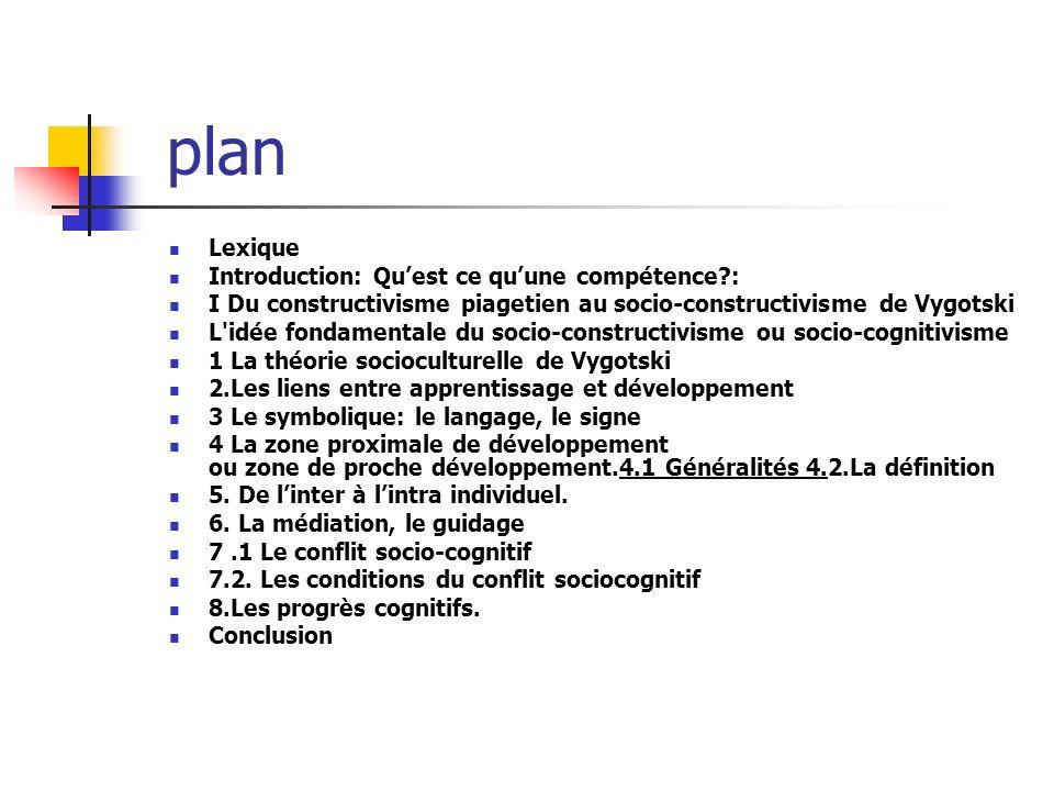 plan Lexique Introduction: Quest ce quune compétence?: I Du constructivisme piagetien au socio-constructivisme de Vygotski L'idée fondamentale du soci