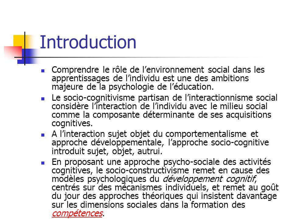 Introduction Comprendre le rôle de lenvironnement social dans les apprentissages de lindividu est une des ambitions majeure de la psychologie de léduc