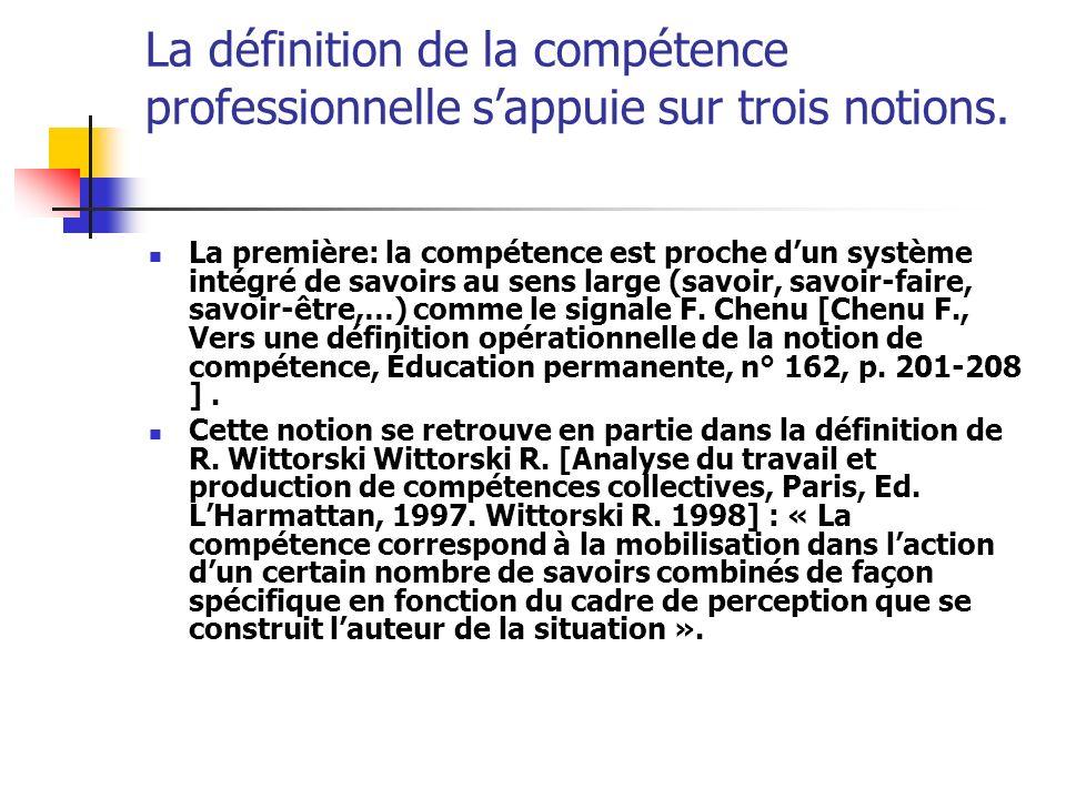 La définition de la compétence professionnelle sappuie sur trois notions. La première: la compétence est proche dun système intégré de savoirs au sens