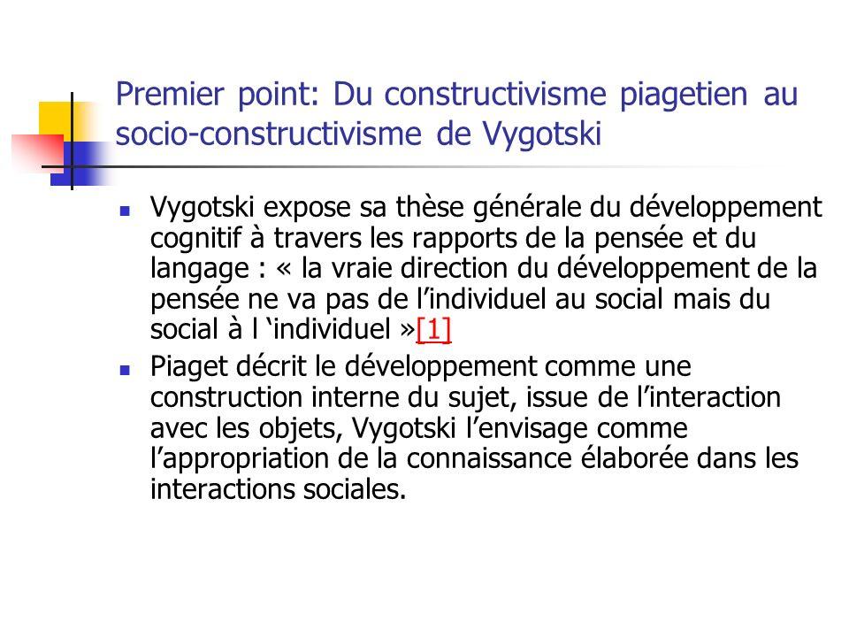Premier point: Du constructivisme piagetien au socio-constructivisme de Vygotski Vygotski expose sa thèse générale du développement cognitif à travers