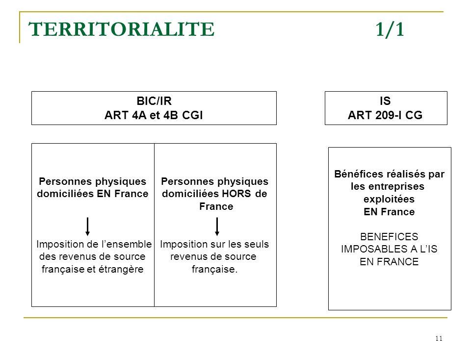 11 TERRITORIALITE 1/1 BIC/IR ART 4A et 4B CGI IS ART 209-I CG Personnes physiques domiciliées EN France Imposition de lensemble des revenus de source