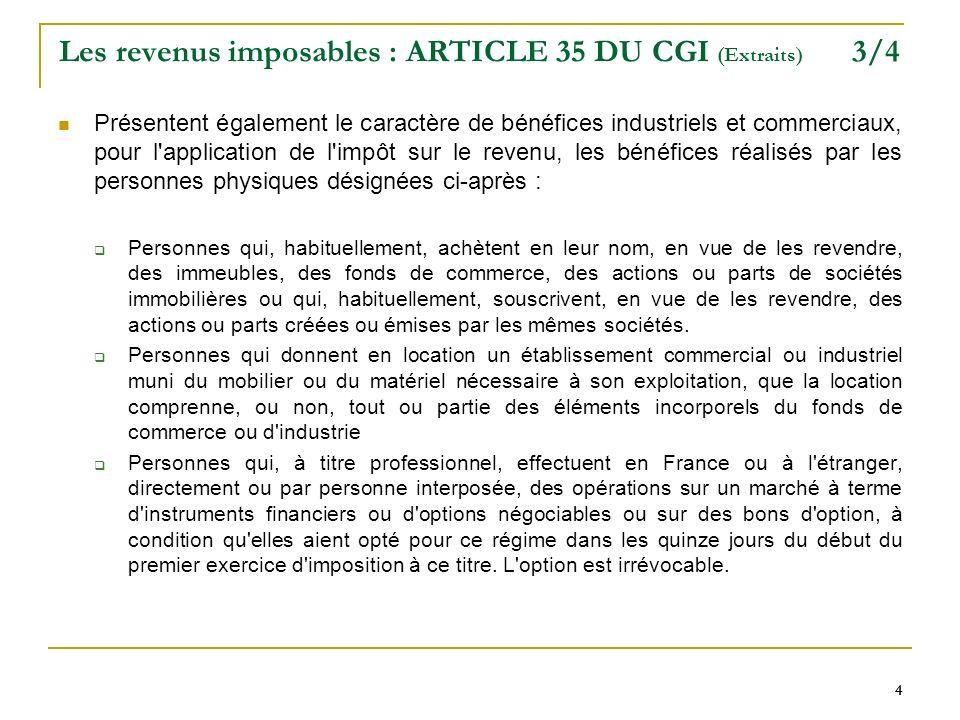 4 44 Les revenus imposables : ARTICLE 35 DU CGI (Extraits) 3/4 Présentent également le caractère de bénéfices industriels et commerciaux, pour l'appli