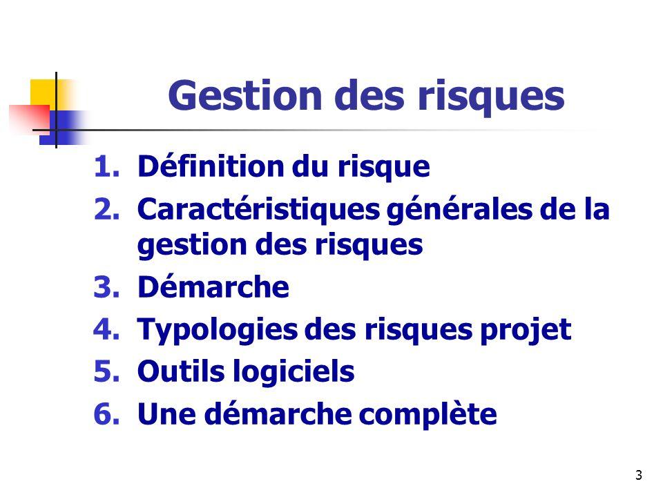 3 Gestion des risques 1.Définition du risque 2.Caractéristiques générales de la gestion des risques 3.Démarche 4.Typologies des risques projet 5.Outil