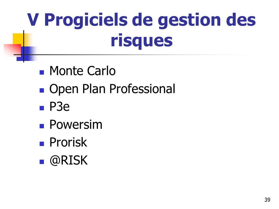 39 V Progiciels de gestion des risques Monte Carlo Open Plan Professional P3e Powersim Prorisk @RISK