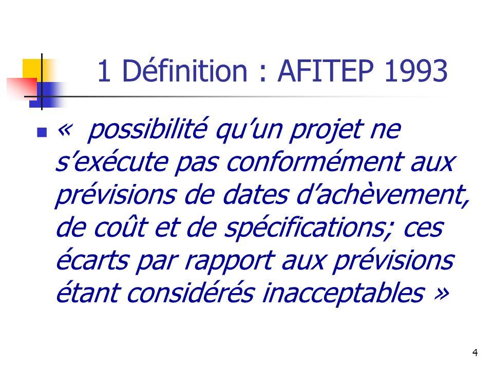 4 1 Définition : AFITEP 1993 « possibilité quun projet ne sexécute pas conformément aux prévisions de dates dachèvement, de coût et de spécifications;