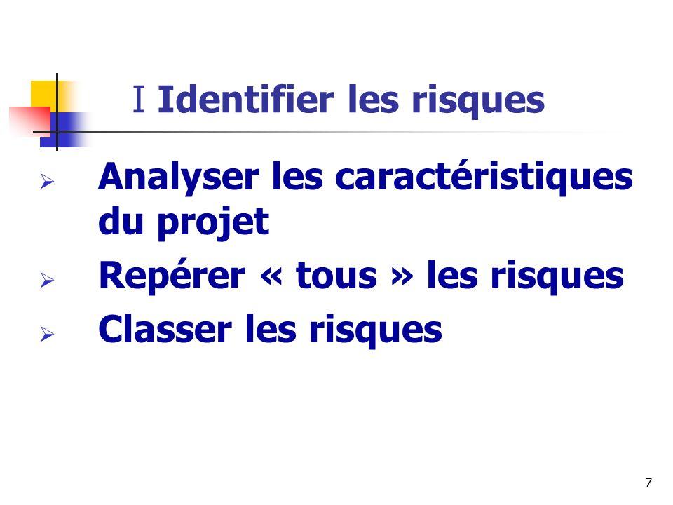 Les caractéristiques du projet Taille & Durée Nombre dacteurs et nombre de mois Stabilité de la demande client Technique Objectif Stratégique, obligatoire, productivité Cible Client, support, transversal 8