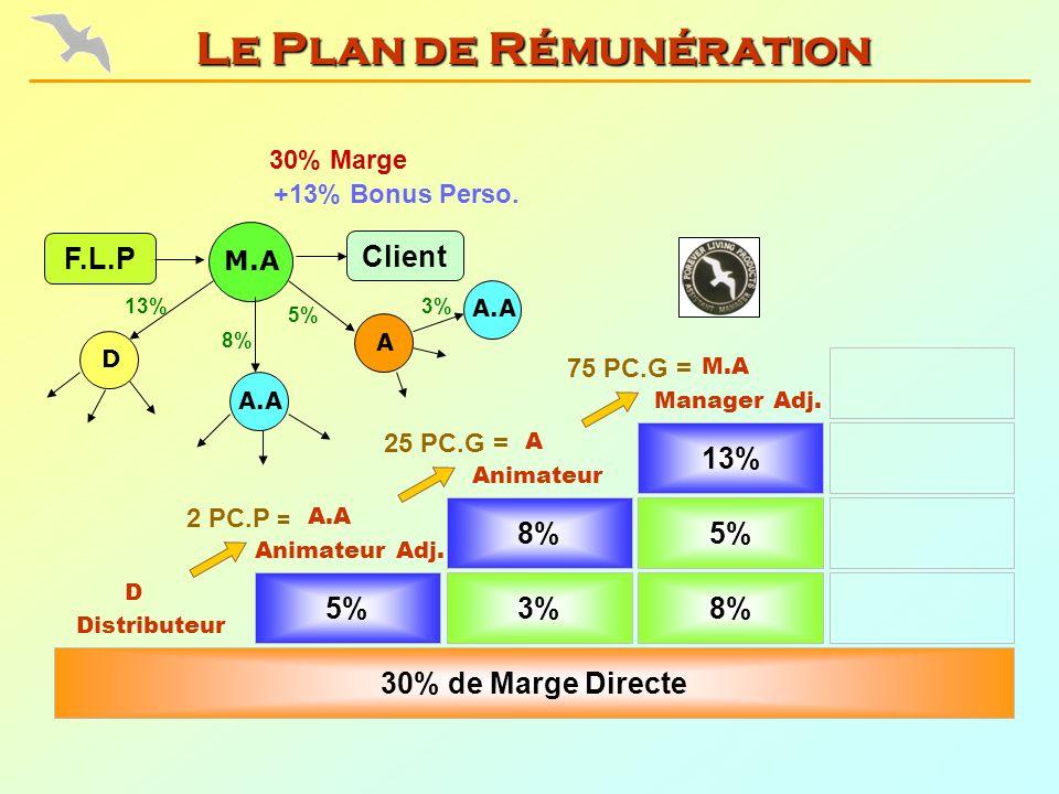 5% Animateur Adj. 3%8% 30% de Marge Directe 8%5% Animateur Manager Adj. 13% Distributeur 75 PC.G = 25 PC.G = 2 PC.P = 30% Marge F.L.P 8% 13% D A A.A +