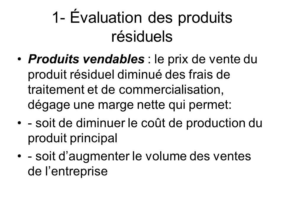 1- Évaluation des produits résiduels Produits vendables : le prix de vente du produit résiduel diminué des frais de traitement et de commercialisation